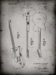 PP121- Faded Grey Fender Broadcaster Electric Guitar Patent Poster by Cole Borders