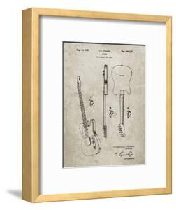 PP121- Sandstone Fender Broadcaster Electric Guitar Patent Poster by Cole Borders