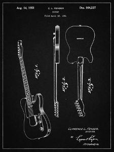 PP121- Vintage Black Fender Broadcaster Electric Guitar Patent Poster by Cole Borders