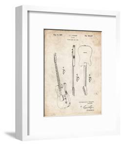 PP121- Vintage Parchment Fender Broadcaster Electric Guitar Patent Poster by Cole Borders