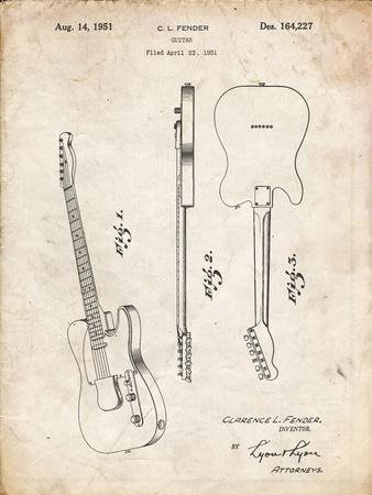 PP121- Vintage Parchment Fender Broadcaster Electric Guitar Patent Poster