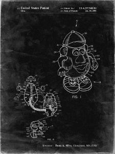 PP123- Black Grunge Mr. Potato Head Patent Poster by Cole Borders
