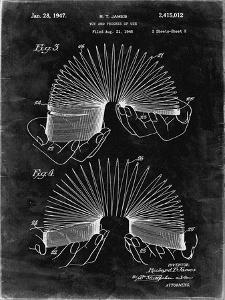 PP125- Black Grunge Slinky Toy Patent Poster by Cole Borders