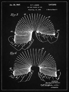 PP125- Vintage Black Slinky Toy Patent Poster by Cole Borders