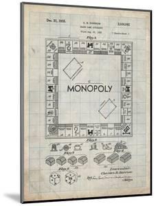 PP131- Antique Grid Parchment Monopoly Patent Poster by Cole Borders