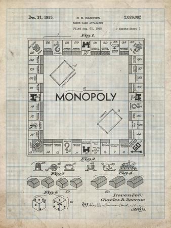 PP131- Antique Grid Parchment Monopoly Patent Poster