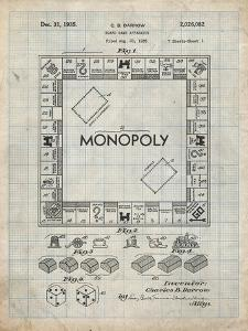PP131- Antique Grid Parchment Monopoly Patent Poster by Cole Borders