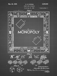 PP131- Black Grid Monopoly Patent Poster by Cole Borders