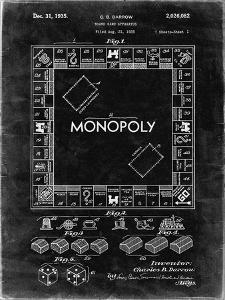 PP131- Black Grunge Monopoly Patent Poster by Cole Borders