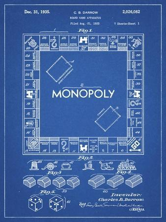 PP131- Blueprint Monopoly Patent Poster