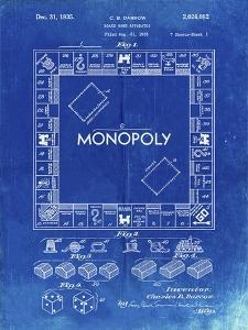 PP131- Faded Blueprint Monopoly Patent Poster by Cole Borders