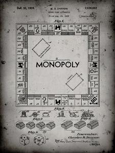 PP131- Faded Grey Monopoly Patent Poster by Cole Borders