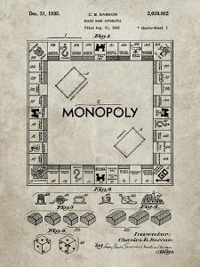 PP131- Sandstone Monopoly Patent Poster by Cole Borders