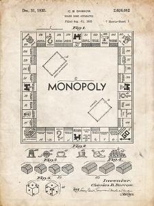 PP131- Vintage Parchment Monopoly Patent Poster by Cole Borders