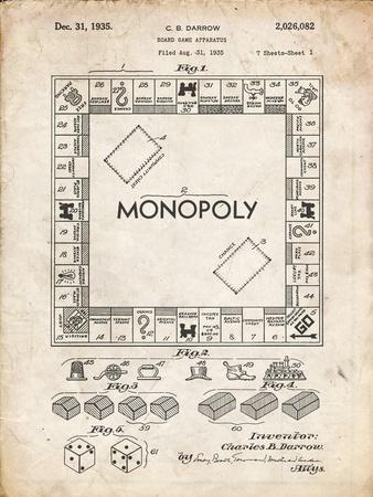 PP131- Vintage Parchment Monopoly Patent Poster