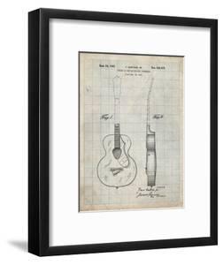 PP138- Antique Grid Parchment Gretsch 6022 Rancher Guitar Patent Poster by Cole Borders