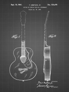 PP138- Black Grid Gretsch 6022 Rancher Guitar Patent Poster by Cole Borders