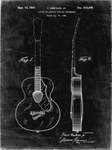 PP138- Black Grunge Gretsch 6022 Rancher Guitar Patent Poster by Cole Borders