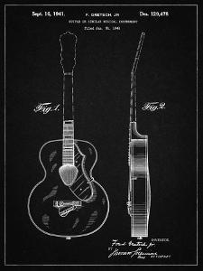 PP138- Vintage Black Gretsch 6022 Rancher Guitar Patent Poster by Cole Borders