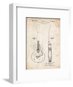 PP138- Vintage Parchment Gretsch 6022 Rancher Guitar Patent Poster by Cole Borders