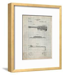PP139- Antique Grid Parchment Stratton & Son Acoustic Guitar Patent Poster by Cole Borders