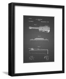 PP139- Black Grid Stratton & Son Acoustic Guitar Patent Poster by Cole Borders