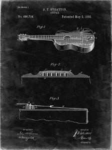 PP139- Black Grunge Stratton & Son Acoustic Guitar Patent Poster by Cole Borders