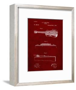PP139- Burgundy Stratton & Son Acoustic Guitar Patent Poster by Cole Borders