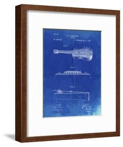 PP139- Faded Blueprint Stratton & Son Acoustic Guitar Patent Poster by Cole Borders