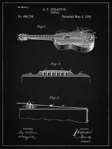 PP139- Vintage Black Stratton & Son Acoustic Guitar Patent Poster by Cole Borders