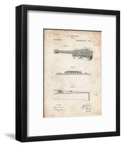 PP139- Vintage Parchment Stratton & Son Acoustic Guitar Patent Poster by Cole Borders