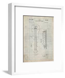 PP140- Antique Grid Parchment Gibson Les Paul Guitar Patent Poster by Cole Borders