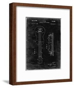 PP140- Black Grunge Gibson Les Paul Guitar Patent Poster by Cole Borders