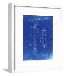 PP140- Faded Blueprint Gibson Les Paul Guitar Patent Poster by Cole Borders