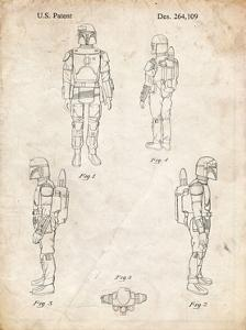 PP145- Vintage Parchment Star Wars Boba Fett 4 Image Patent Poster by Cole Borders