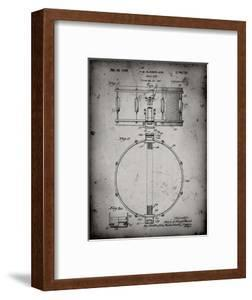 PP147- Faded Grey Slingerland Snare Drum Patent Poster by Cole Borders