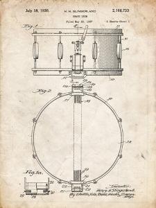 PP147- Vintage Parchment Slingerland Snare Drum Patent Poster by Cole Borders