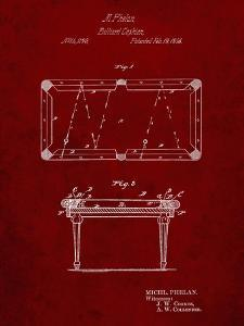 PP149- Burgundy Pool Table Patent Poster by Cole Borders