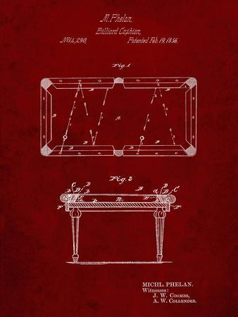PP149- Burgundy Pool Table Patent Poster