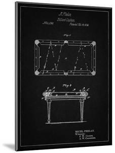 PP149- Vintage Black Pool Table Patent Poster by Cole Borders