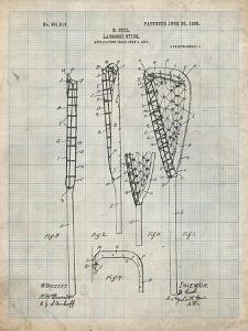 PP166- Antique Grid Parchment Lacrosse Stick Patent Poster by Cole Borders