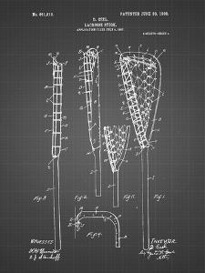 PP166- Black Grid Lacrosse Stick Patent Poster by Cole Borders