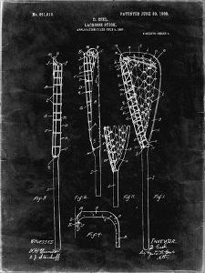 PP166- Black Grunge Lacrosse Stick Patent Poster by Cole Borders