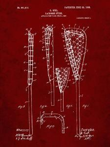PP166- Burgundy Lacrosse Stick Patent Poster by Cole Borders