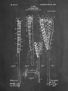 PP166- Chalkboard Lacrosse Stick Patent Poster by Cole Borders