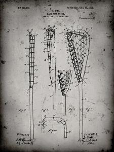 PP166- Faded Grey Lacrosse Stick Patent Poster by Cole Borders