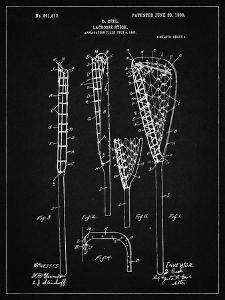 PP166- Vintage Black Lacrosse Stick Patent Poster by Cole Borders