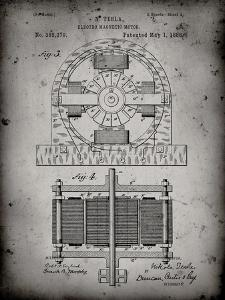 PP173- Faded Grey Tesla Electro Motor Patent Poster by Cole Borders