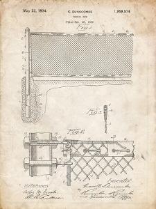 PP181- Vintage Parchment Tennis Net Patent Poster by Cole Borders