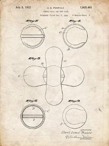 PP182- Vintage Parchment Tennis Ball 1932 Patent Poster by Cole Borders